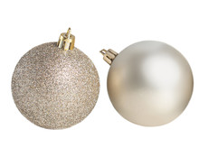 Silver Christmas Balls  Isolated. Collection Of Xmas Baubles  On White Background.