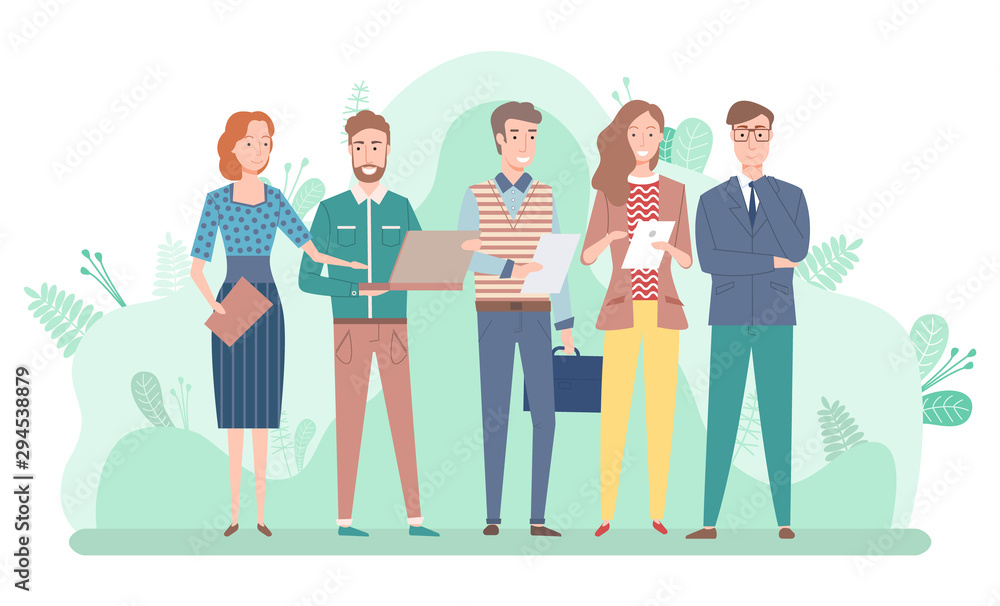 Fototapeta Man and woman workers communication with laptop, partnership collaboration. Employees teamwork, people holding documents and laptop, capital. Vector illustration in flat cartoon style