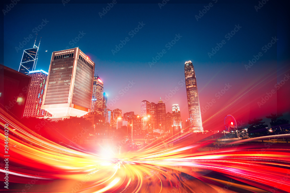 Fototapeta light trails at Hong Kong night street,