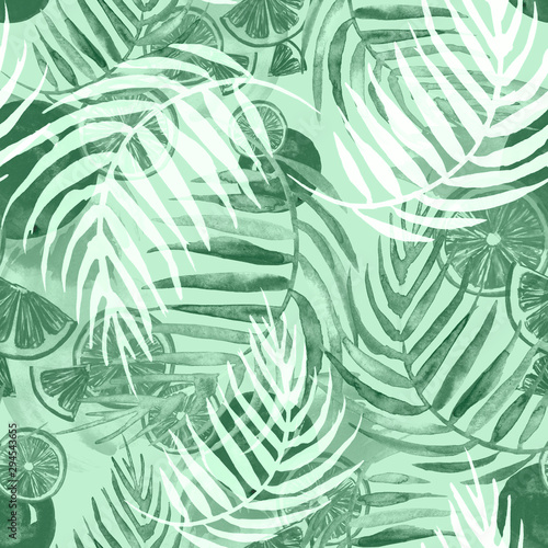Recess Fitting Tropical Leaves Watercolor painting, vintage seamless pattern - tropical fruits, citrus, slices of lemon, orange, grapefruit. Splash of paint green. Watercolor tropical background.