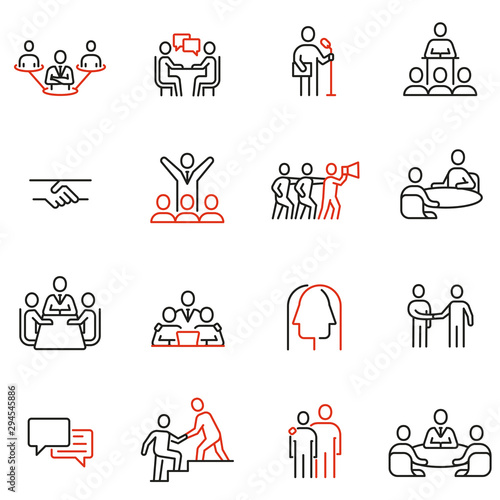 Fotografía Vector set of linear icons related to engagement, discussion, persuasiveness