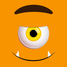 Funny Halloween Greeting Card Monster Yellow Eyes. Vector Isolated Illustration On Orange Background