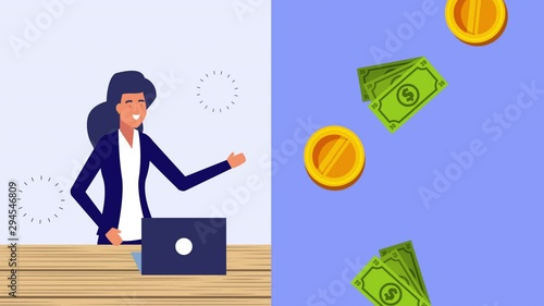 Photo  businesswoman with laptop and money dollars animation