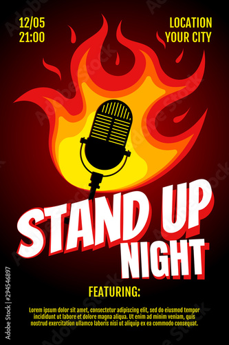 Fototapeta Stand up comedy night live show A3 A4 poster design template