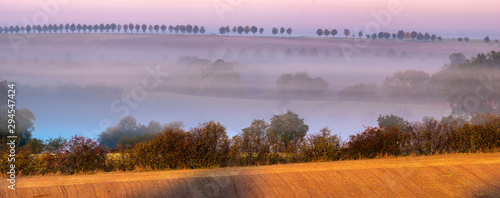 Foto auf Leinwand Rosa hell Autumn landscape. Fields, meadows and forest shrouded in morning mist.