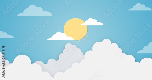 Obraz Abstract kawaii colorful clear blue sky with sun background. Soft gradient pastel cartoon graphics. Ideas for children designs or presentations. Flat design illustration of summer - fototapety do salonu