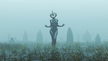 Black Evil Witch Pumpkin Head Spirit Walking With Hands Out Raising Spirits Abstract Demon Foggy Watery Void With Reeds And Grass Background Front View 3d Illustration 3d Render