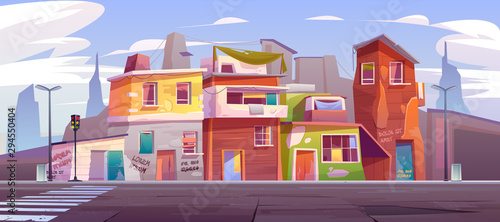 Ghetto street with ruined abandoned houses, old buildings with broken windows and scribbled walls. Dilapidated dwellings stand on roadside with crosswalk and traffic lights cartoon vector illustration