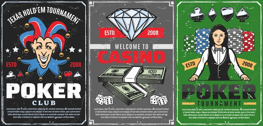 Fototapety, obrazy: Casino dice, chips, poker cards, croupier, joker