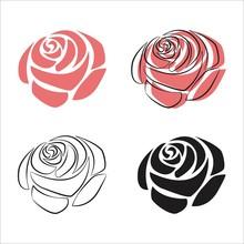 Rose Flower Simple Vector Illustration.