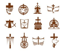 Cross, Bible, Dove And Priest,...