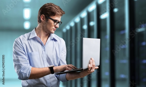 Fotomural Man works in datacenter.