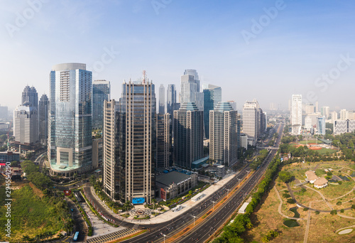Modern skyscrapers in Jakarta south central business district along the Sudirman avenue in Indonesia capital city, a major financial center in Southeast Asia