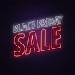 Black friday sale. Neon sign on a brick background. White and red neon sign. Square banner. Design concept .Vector