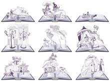 Set Open Book Fairy Tale Illus...