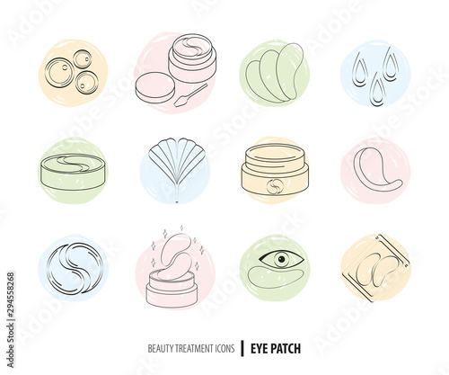 Fotografia, Obraz Beauty cosmetics line art icon set