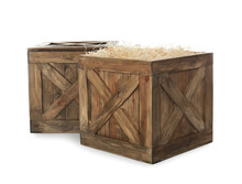 Old Open Wooden Crates Isolate...