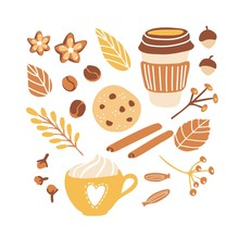 Set Of Cute Vector Clip Art Autumn Time Mood. Collection Of Seasonal Illustrations For Fall Season With Freehand Doodle Elements.