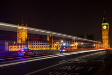 Emergency Vehicles By Big Ben, Westminster Bridge, London At Night