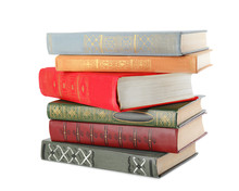 Stack Of Hardcover Books On Wh...