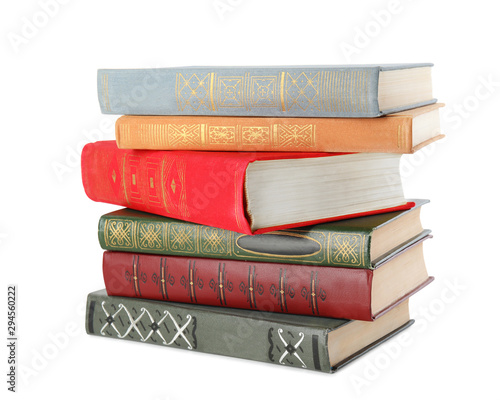 Fotografering Stack of hardcover books on white background