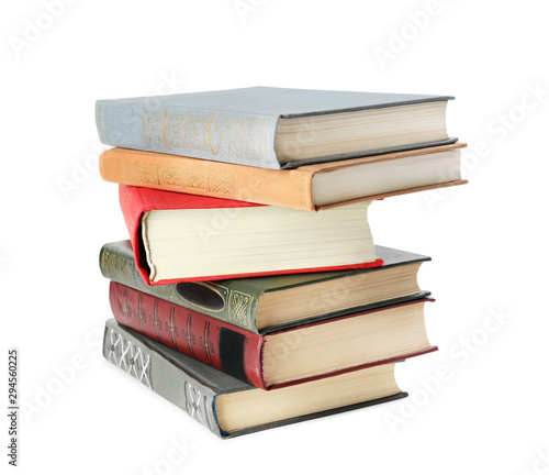Fototapeta Stack of hardcover books on white background obraz