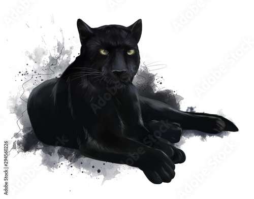 A large black Panther. Watercolor painting Wallpaper Mural