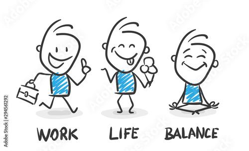 Stickman Blue: Jubilation, Work Life Balance, Teamwork. (Nr. 80) Tablou Canvas