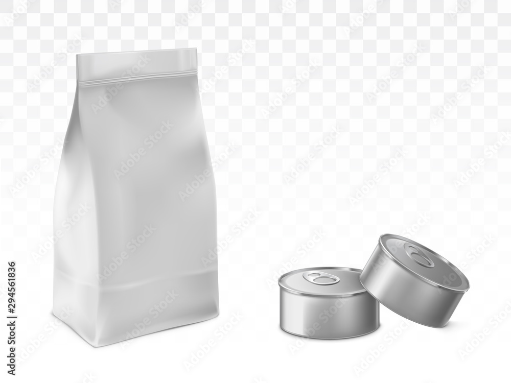 Fototapety, obrazy: Paper or foil bag, sealed plastic sachet and blank, metal tin cans 3d realistic vector illustrations isolated on transparent white background with shadows. Pet food, preserved product packaging mockup