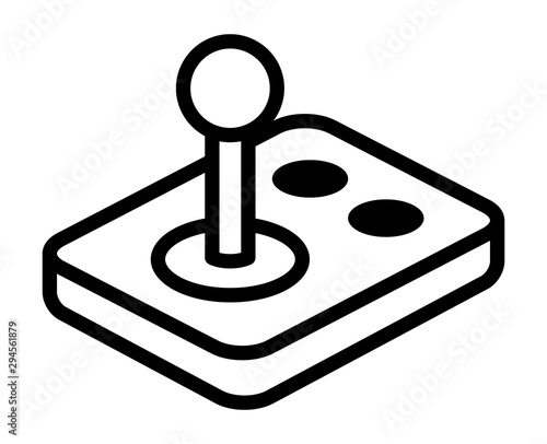 Arcade video game joystick gamepad with buttons line art vector icon for gaming apps and websites