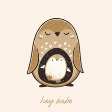 Hey Babe. Cute Pregnant Penguin With Her Baby In Floral Style. Hand Drawn Illustration Of Animal Waiting For A Baby