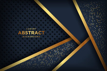 Abstract Luxury Dark Background With A Combination Glowing Golden Dots. Overlap Modern Background.