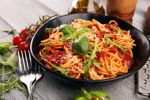 Plate of delicious spaghetti Bolognaise or Bolognese with savory minced beef and Wallpaper Mural
