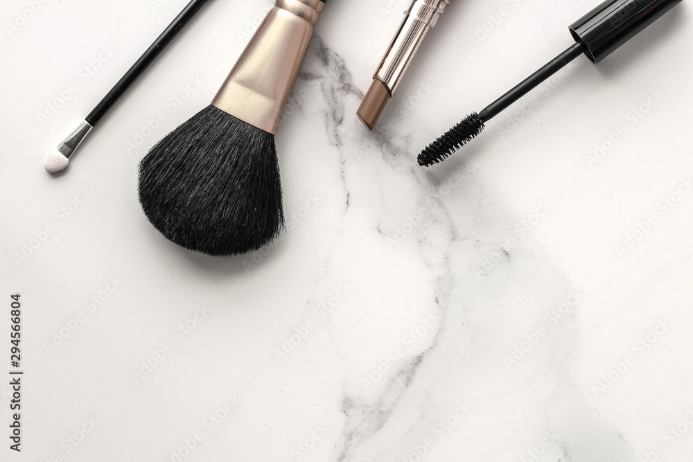 Fototapety, obrazy: Make-up and cosmetics products on marble, flatlay background