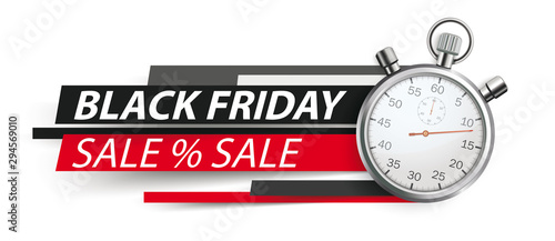Fotomural Black Friday Stopwatch Paper Lines Header