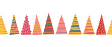 Abstract Colorful Christmas Trees Seamless Vector Border. Decorative Hand Drawn Repeating Winter Holiday Pattern For Decoration, Greeting Cards, Digital Scrapbooking, Kids Decor, Banner, Ribbon, Trims