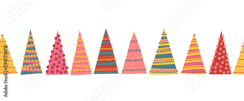 obraz PCV Abstract colorful Christmas trees seamless vector border. Decorative hand drawn repeating Winter holiday pattern for decoration, greeting cards, digital scrapbooking, kids decor, banner, ribbon, trims