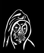 Man In Gas Mask On A Black Background