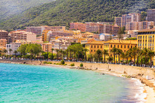 Ajaccio Public Beach With Tourists At Sunny Day. Summer Landscape Of Corsica Island At Sunny Summer Day, Ajaccio, France, 2019