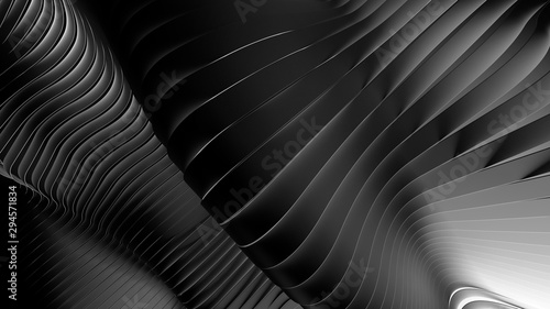 Wavy bw abstract background.3d render. - 294571834