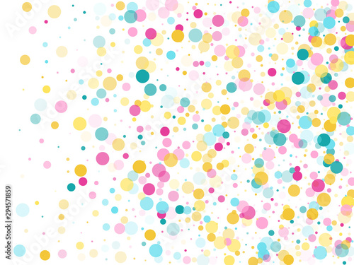 Memphis round confetti festive background in cyan blue, pink and yellow Canvas-taulu