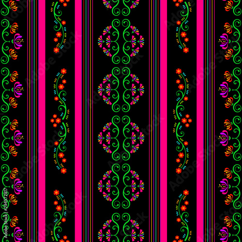 Floral vector seamless patter in mexican style Canvas Print