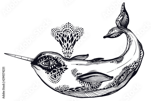 Highly detailed tribal wild narwhal whale sea animal in geometric style breathing our water fountain Fototapet
