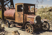 Very Old Vintage Car With Great Signs Of Decay Rotting Away In Ghost Town Nelson Nevada