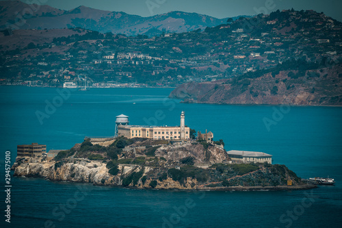 Canvas Print View of Historical Alcatraz Prison Island in San Francisco California from the f