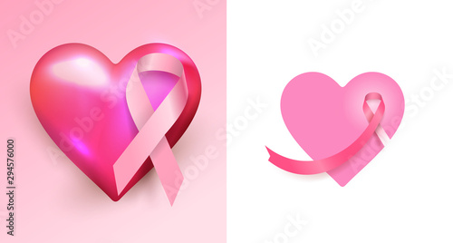 Set of Pink cancer ribbon with heart. Woman cancer icon design, App icon. Vector illustration. Isolated on white background.