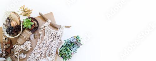 Macrame weaving from natural cotton threads Wallpaper Mural