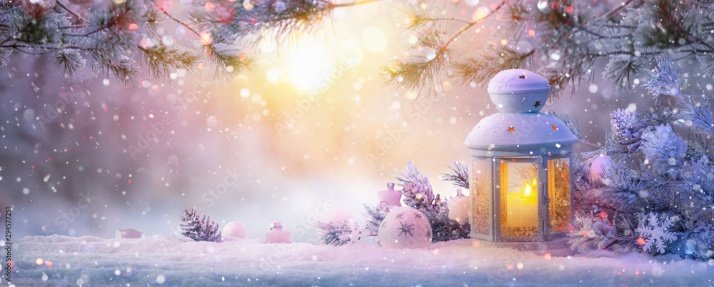 Fototapety, obrazy:  Christmas Lantern On Snow With Fir Branch. Winter Landscape