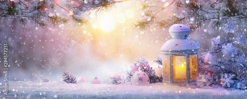 Keuken foto achterwand Lavendel Christmas Lantern On Snow With Fir Branch. Winter Landscape