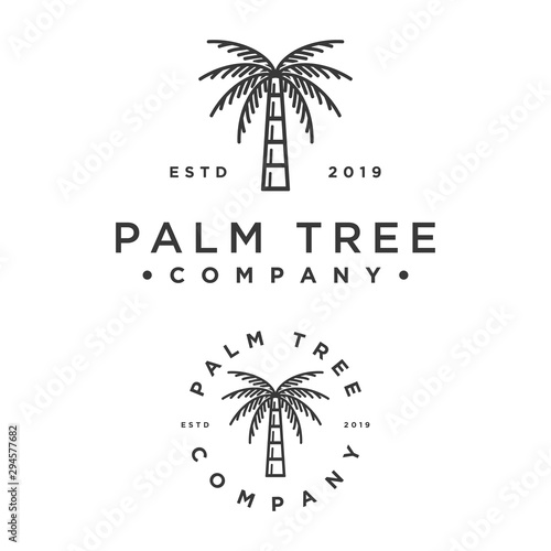 hipster style palm tree vector logo Slika na platnu
